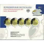 Germany, Proof Euro Set of 5 x 2 Euro, 2011 ADFGJ
