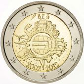 Belgium, 2 Euro 10th Anniversary of Euro 2012, Brussels, KM:315, MS(65-70),Proof
