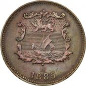 BRITISH NORTH BORNEO, 1/2 Cent, 1885, Heaton, Birmingham, TTB+, Bronze, KM:1