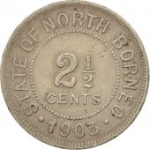 BRITISH NORTH BORNEO, 2-1/2 Cent, 1903, Heaton, Birmingham, TTB, Copper-nicke...