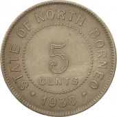 BRITISH NORTH BORNEO, 5 Cents, 1938, Heaton, Birmingham, SUP, Copper-nickel,...