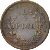 INDIA-BRITISH, 1/2 Pice, 1853, Calcutta, AU(50-53), Copper, KM:464