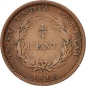 Straits Settlements, Victoria, 1/4 Cent, 1845, EF(40-45), Copper, KM:1
