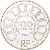 France, 100 Francs-15 Ecus, 1992, Jean Monnet, Paris, MS(65-70), Silver, KM:1012