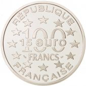France, 100 Francs-15 Euro, 1996, Place Bruxelles, MS(65-70), Silver, KM:1142