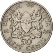 Kenya, 50 Cents, 1980, British Royal Mint, EF(40-45), Copper-nickel, KM:19