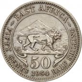 EAST AFRICA, Elizabeth II, 50 Cents, 1954, EF(40-45), Copper-nickel, KM:36