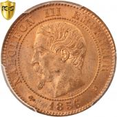 France, Napoleon III, 2 Centimes, 1856, Bordeaux, PCGS, MS64RB, KM:776.5