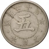 Japon, Mutsuhito, 5 Sen, 1890, TTB, Copper-nickel, KM:19