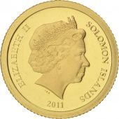 Solomon Islands, Elizabeth II, 5 Dollars, 2011, MS(65-70), Gold, KM:163