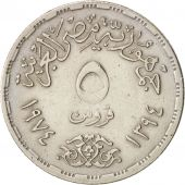 Égypte, 5 Piastres, 1974, TTB, Copper-nickel, KM:A441
