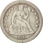 États-Unis, Seated Liberty Dime, 1841, New Orleans, B+, KM:63.2