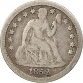 États-Unis, Seated Liberty Dime, 1852, Philadelphia, B+, KM:63.2