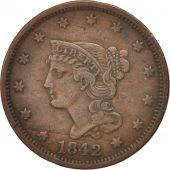 États-Unis, Braided Hair Cent, 1842, U.S. Mint, Philadelphia, TTB, KM:67