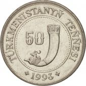 Turkmenistan, 50 Tenge, 1993, SPL, Nickel plated steel, KM:5