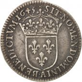 France, Louis XIV, 1/12 Écu à la mèche courte, 1645, Paris, KM:140.1