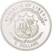 Liberia, 5 Dollars, 2007, MS(65-70), Silver Plated Bronze, KM:724