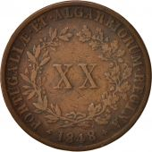 Portugal, Maria II, 20 Reis, 1848, VF(20-25), Copper, KM:482