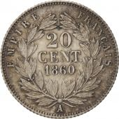 France, Napoleon III, 20 Centimes, 1860, Paris, AU(50-53), KM:778.1