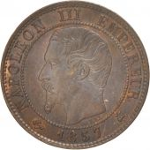 France, Napoléon III, Centime, 1857, Bordeaux, AU(55-58), Bronze, KM:775.5