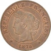 France, Cérès, Centime, 1874, Paris, TTB, Bronze, KM:826.1, Gadoury:88