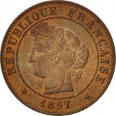 France, Cérès, Centime, 1897, Paris, MS(63), Bronze, KM:826.1, Gadoury:88